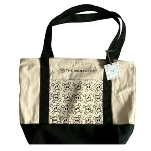 Honest Company Canvas Pocket Skull Crossbones Tote